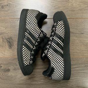 Adidas superstar black white checker sneakers